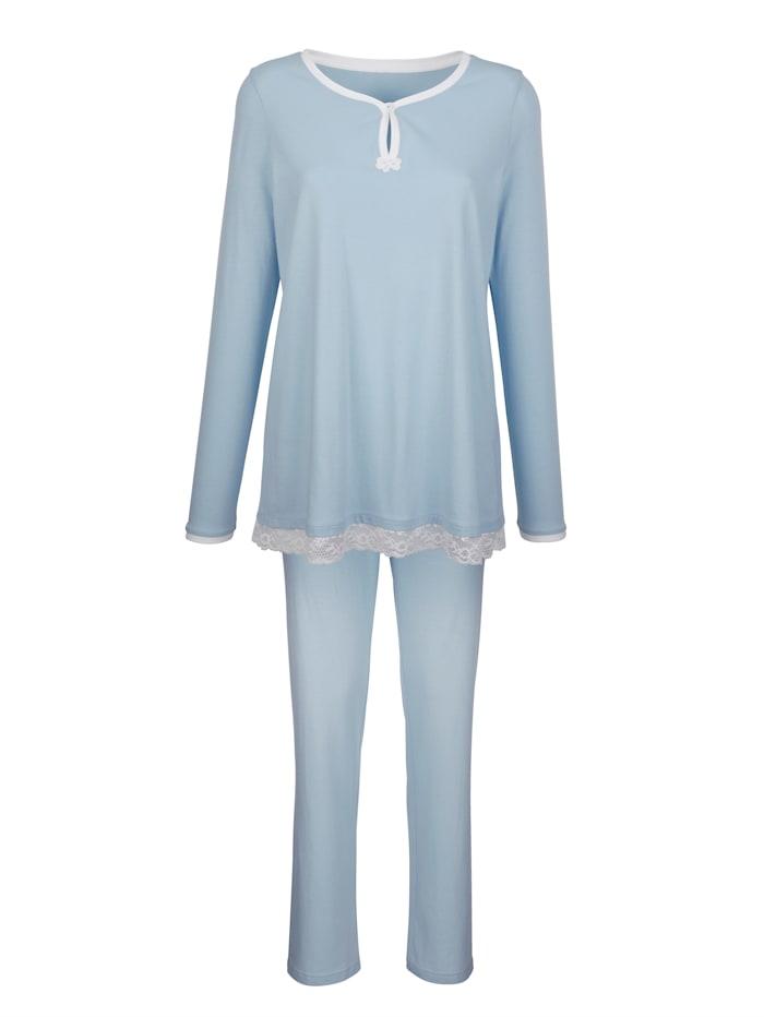 Simone Schlafanzug mit besonderem Halsausschnitt, Blau/Ecru