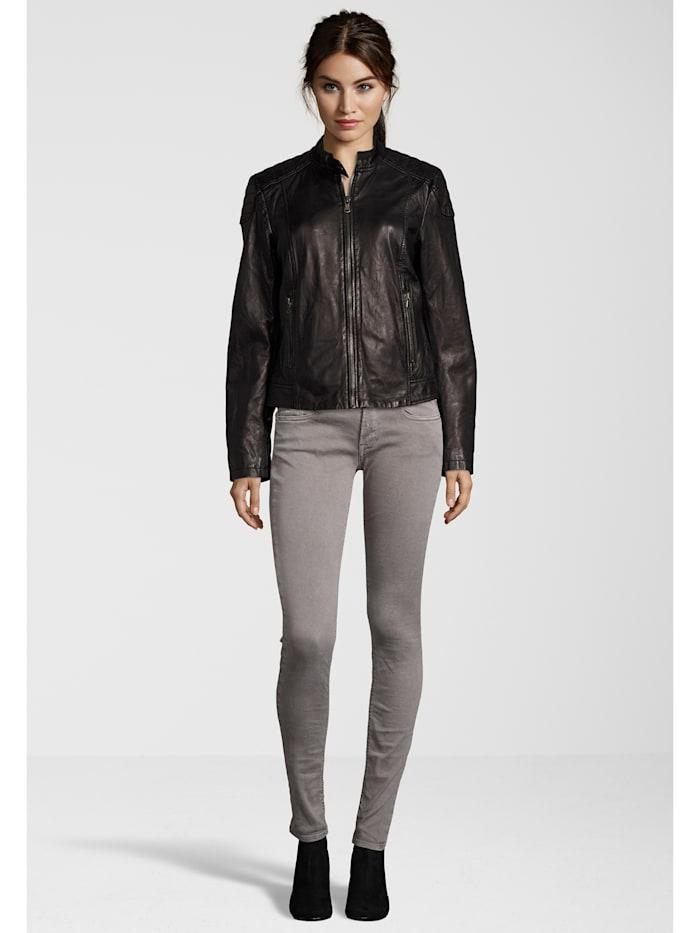 7eleven Lederjacke Raffi in coolem Design, black