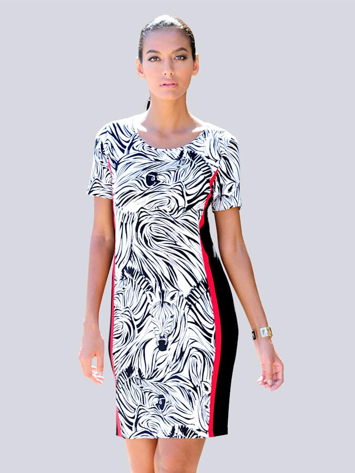 Alba Moda Strandkleid mit seitlichen Streifen, Weiss-Schwarz