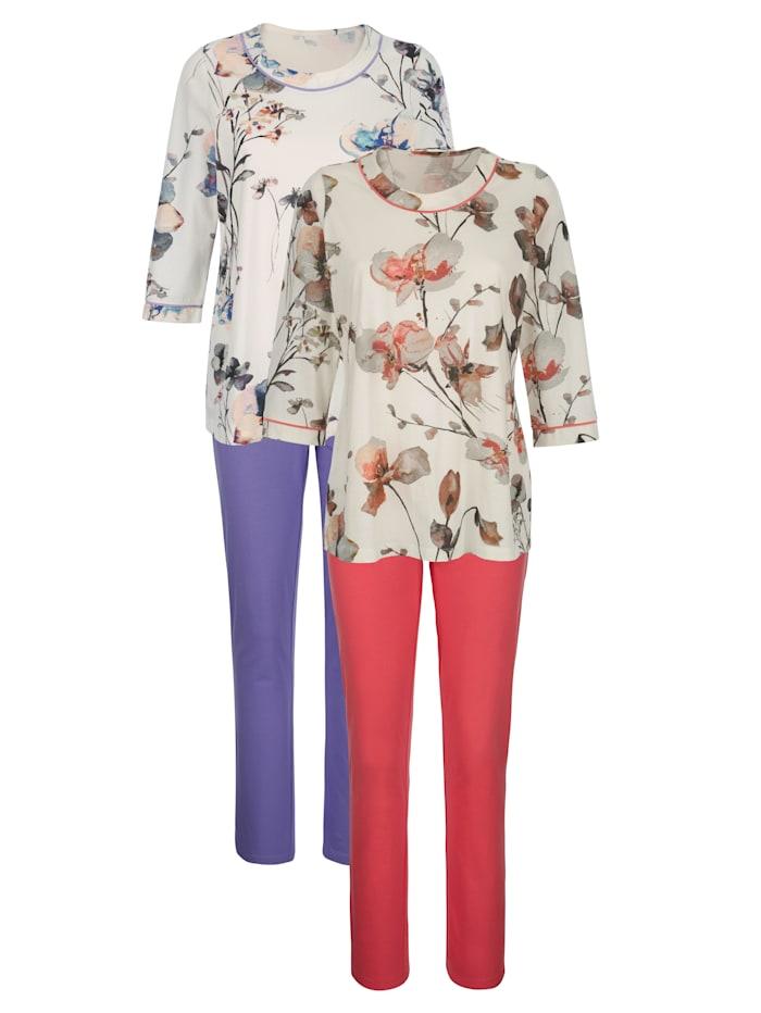 Harmony Pyjama's per 2 stuks met digitale bloemenprint, Ecru/Koraal/Paars