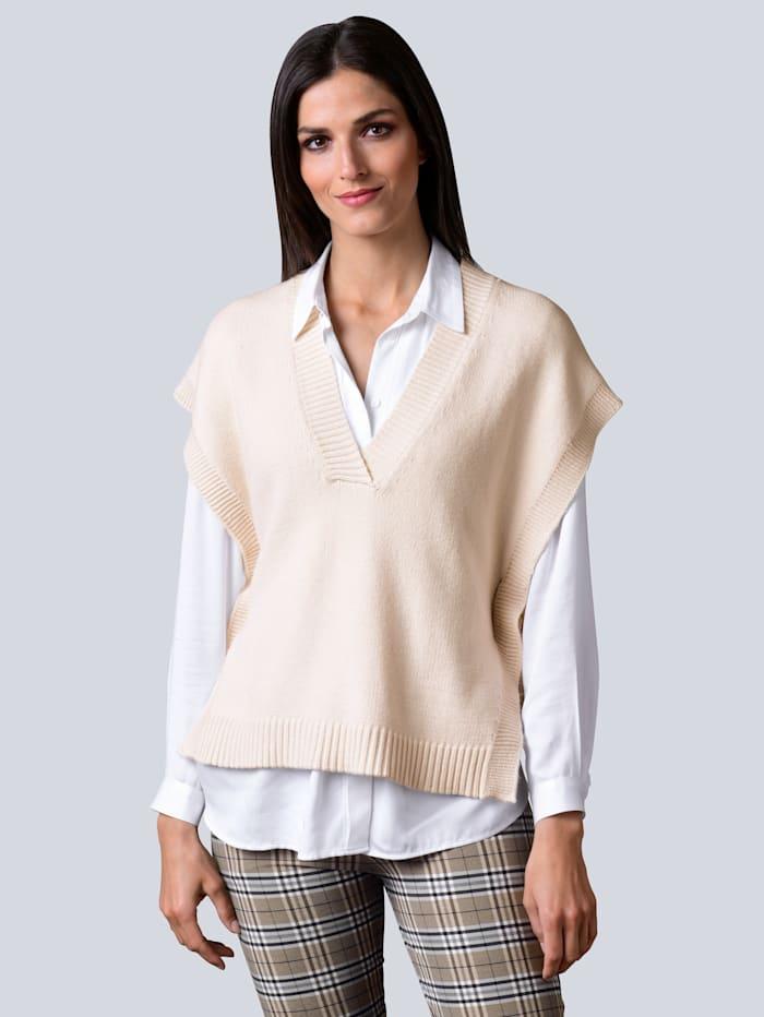 Alba Moda Pullunder in lässiger Oversized-Form, Creme-Weiß