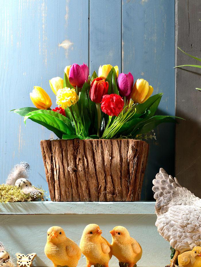Tulpen in Holzgefäß, Bunt