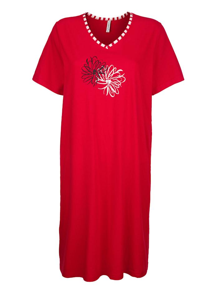 """Comtessa Chemise de nuit en coton issu de l'initiative """"Cotton made in Africa"""", Rouge/Blanc/Noir"""