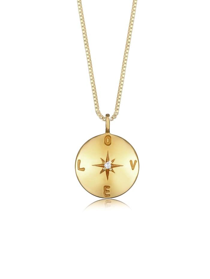 Elli Halskette Box Chain Love Plättchen Coin Zirkonia 925 Silber, Gold