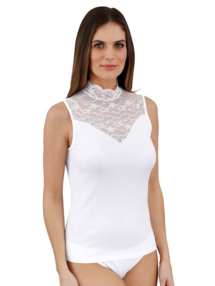 Nina von C. T-shirt à jolie dentelle florale, Blanc
