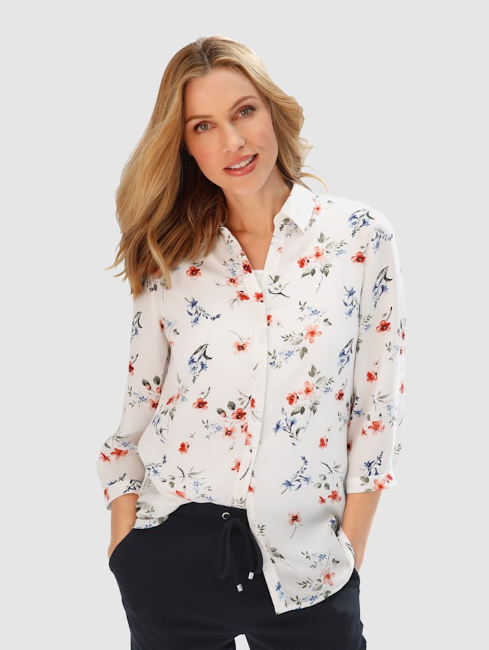 basically you Bluse mit floralem Muster, Weiß