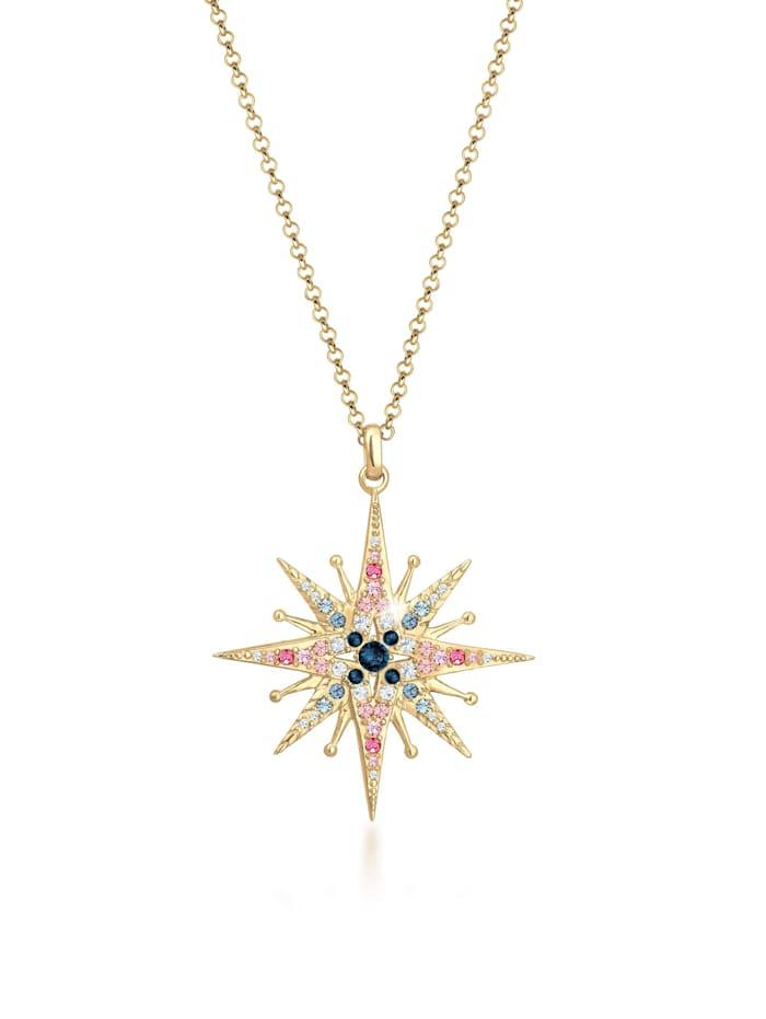 Elli Premium Halskette Erbskette Stern Kristalle 925Er Silber, Gold
