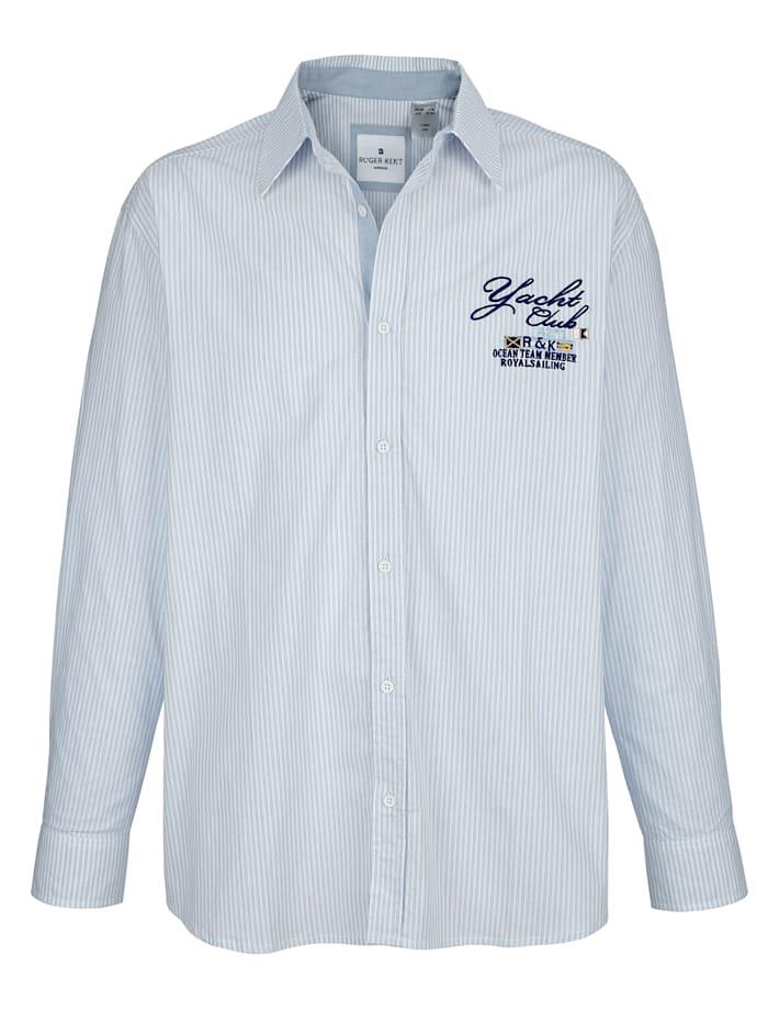 Roger Kent Overhemd met fijn streeppatroon, Wit/Lichtblauw