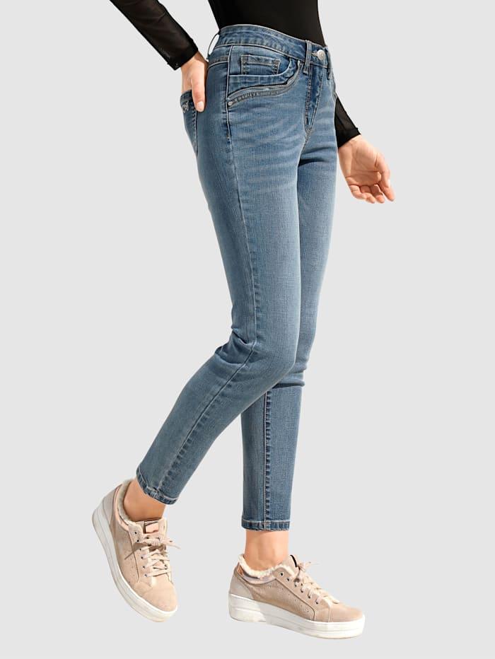 AMY VERMONT Jeans mit Reißverschlussdetail an den Taschen, Blue bleached