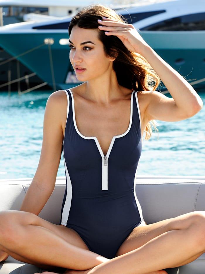 Lidea Badeanzug mit Shape-Effekt, Marineblau/Weiß
