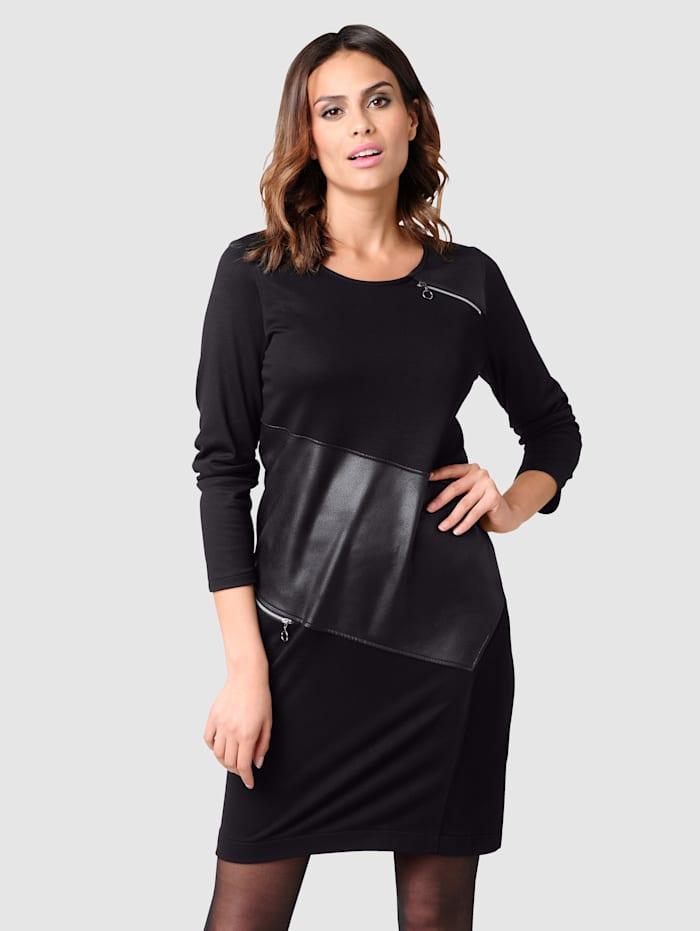 Alba Moda Kleid in modischer Patchoptik, Schwarz
