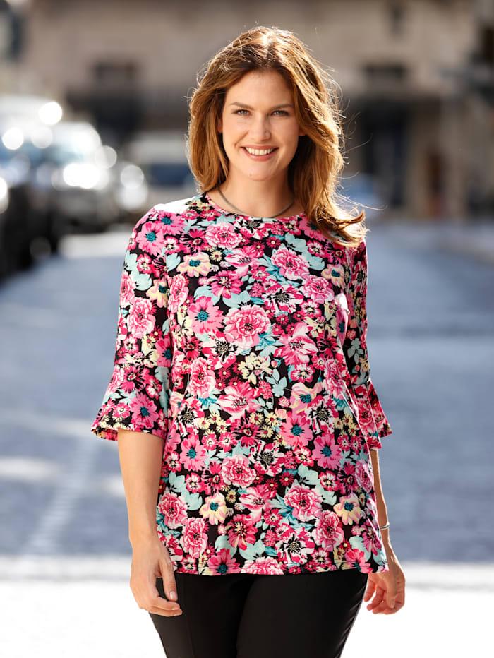 m. collection Shirt met bloemendessin rondom, Pink/Mint/Geel