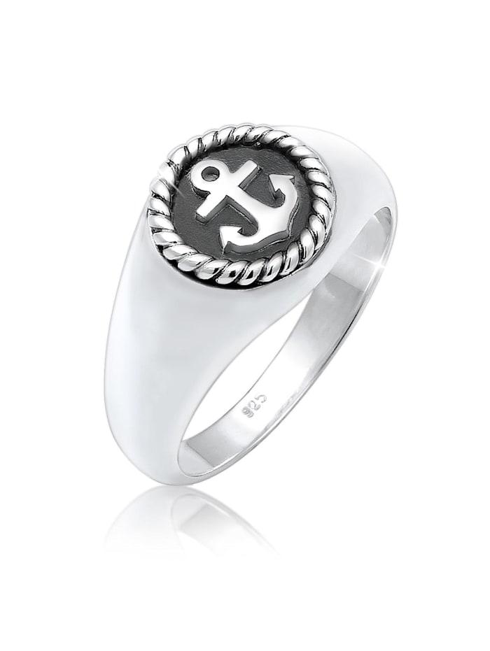 Kuzzoi Ring Siegelring Anker Anchor Maritim Oxid 925Er Silber, Silber