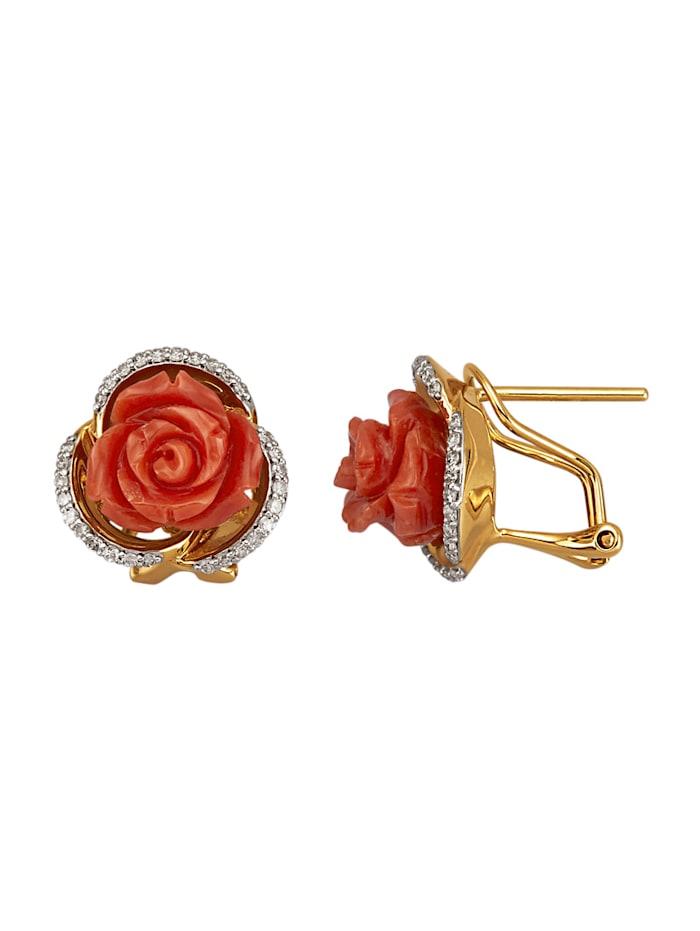Amara Pierres colorées Boucles d'oreilles en or jaune 585, Rouge