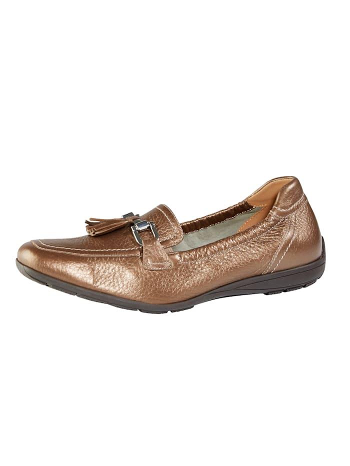 MONA Slipper aus Hirschleder, Bronzefarben