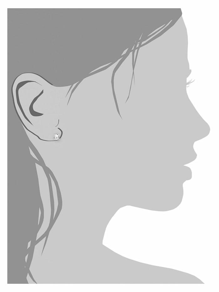 Ohrstecker für Damen Basic 7 mm 925 Sterling Silber rhodiniert Zirkonia weiß
