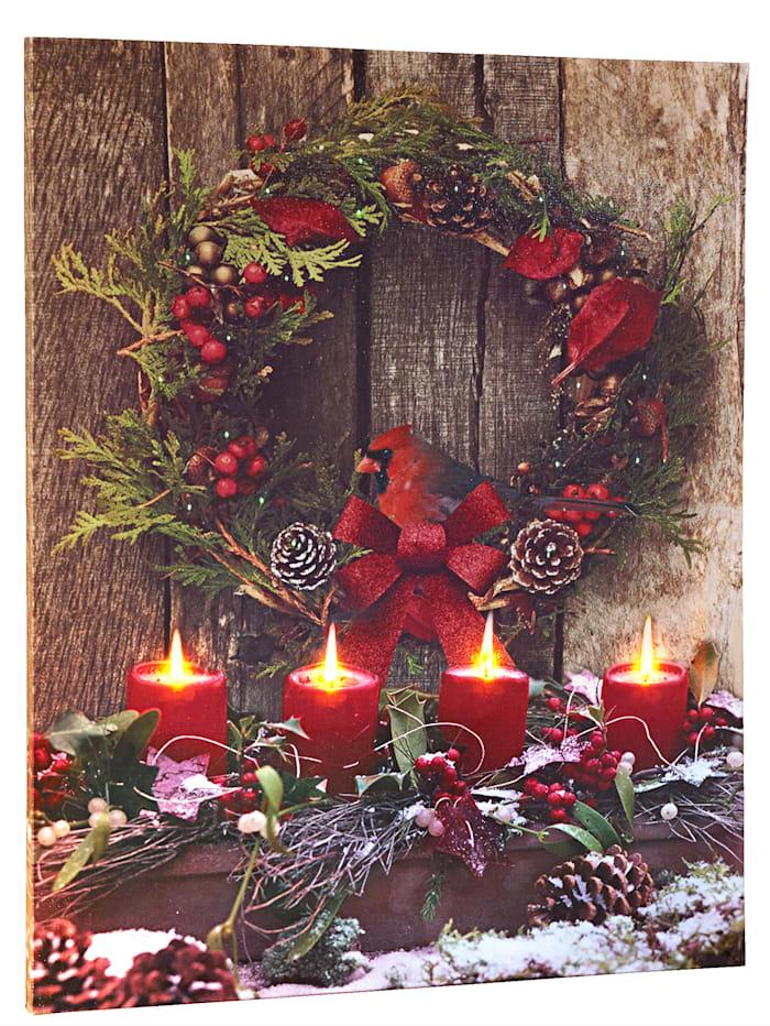 Tewa LED obraz Vianoce, pestrá