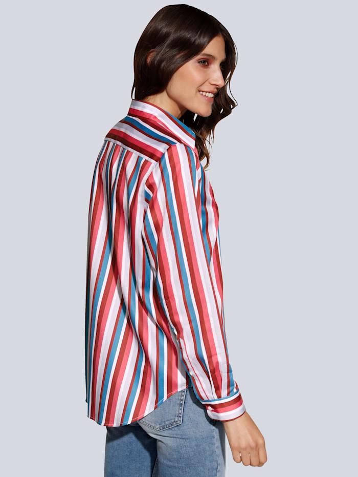 Bluse im farbenfrohen Streifendessin