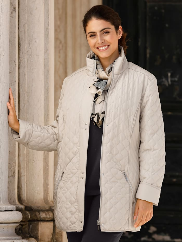 m. collection Gewatteerde jas met verschillende stiksels, Beige