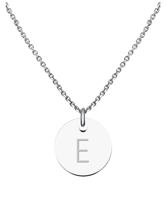 GOOD.designs Kette mit Anhänger Edelstahl Halskette E, silber
