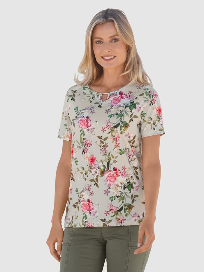 basically you Shirt mit floralem Druck, Salbeigrün