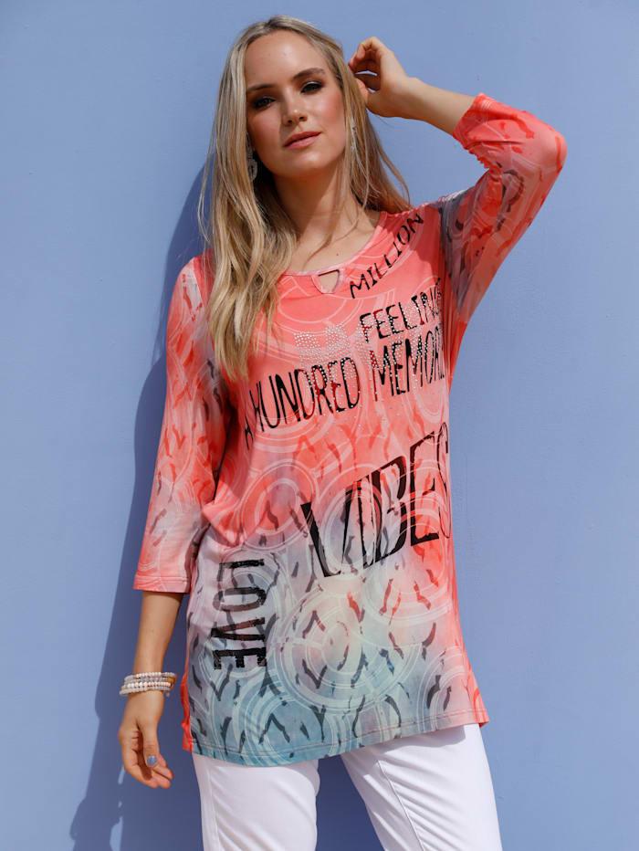 MIAMODA Shirt mit Strasssteinen, Koralle/Blau