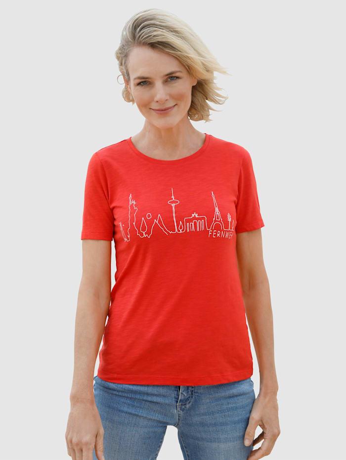 Dress In Shirt mit Frontprint, Rot