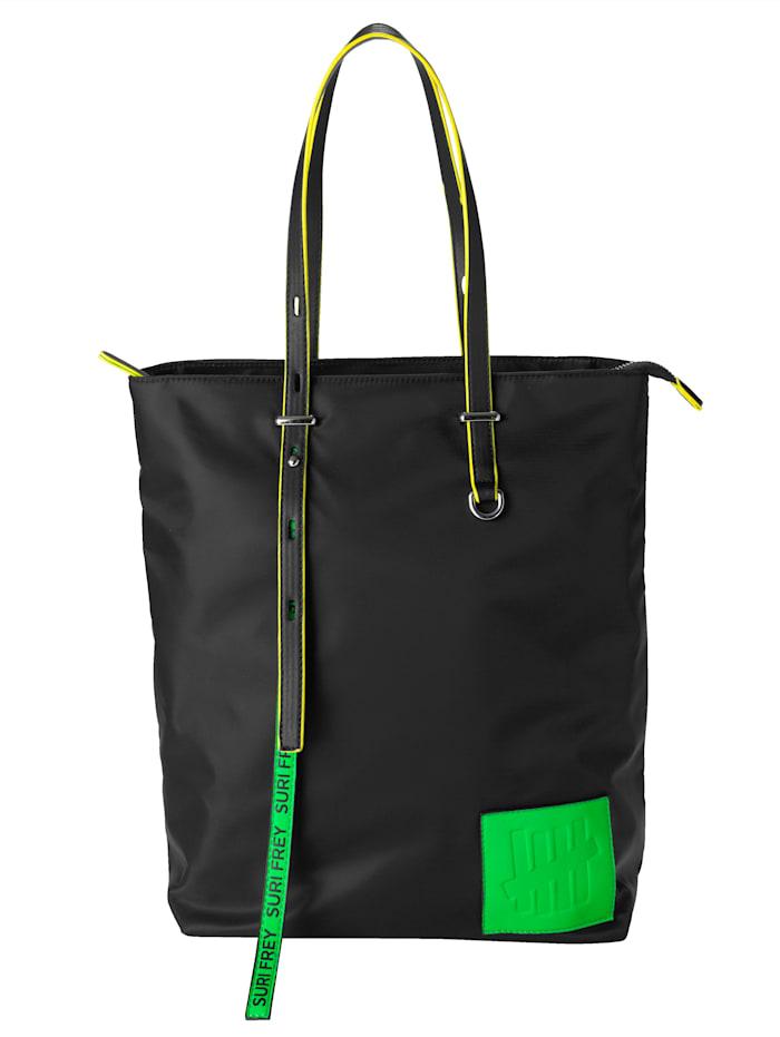 SURI FREY Sac cabas avec deux bandes fantaisie SURI FREY, Noir/vert fluo