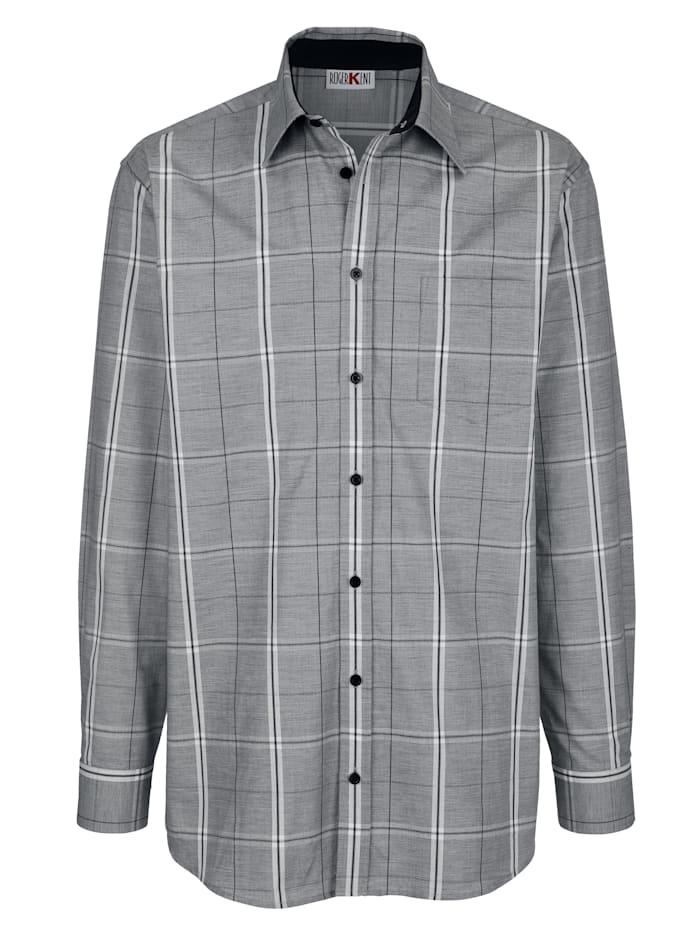 Roger Kent Overhemd met modieus ruitpatroon, Grijs/Wit/Zwart