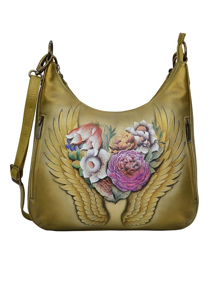 ANUSCHKA Hobo Angels Wings aus handbemaltem Leder, bunt