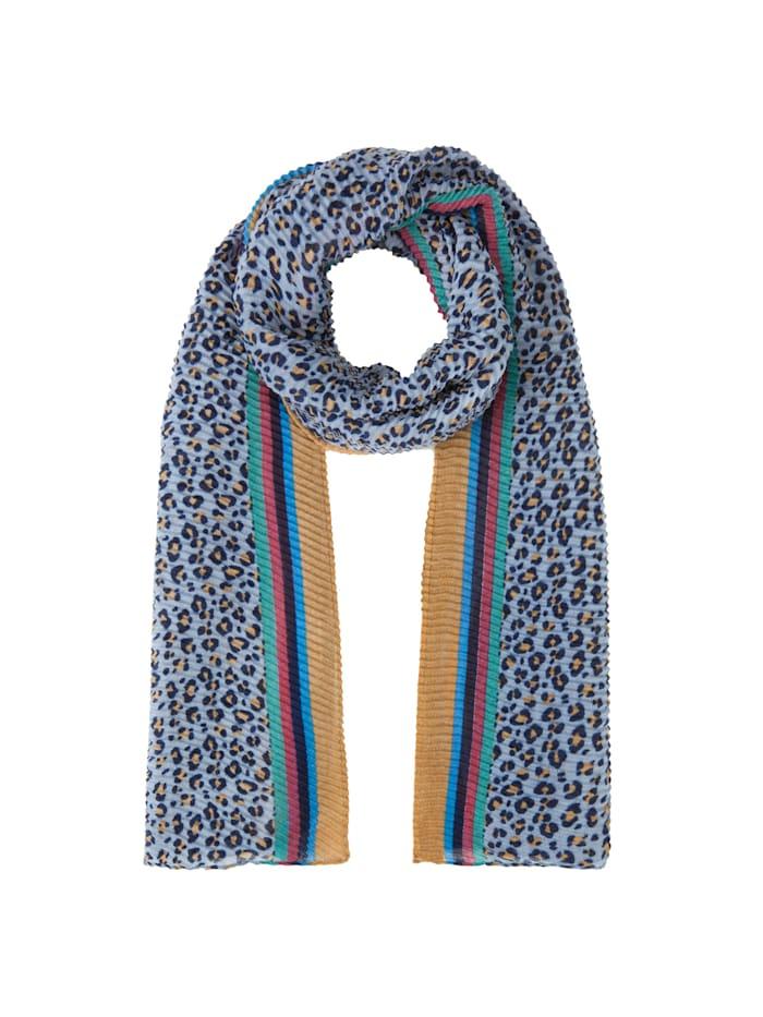 Codello Plissee-Schal mit Leo-Muster aus recyceltem Polyester, jeans blue