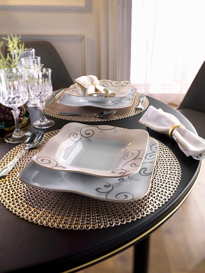 Van Well Middagsservise i 12 deler -Chateau-, hvit/beige/brun