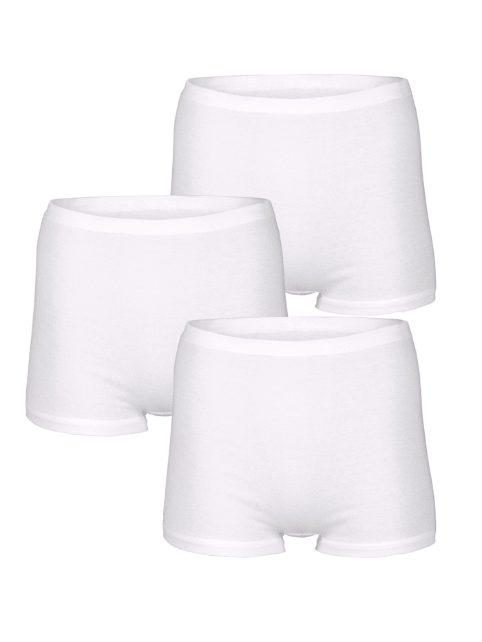 HERMKO Boxers par lot de 3 Taille haute et jambes raccourcies, Blanc