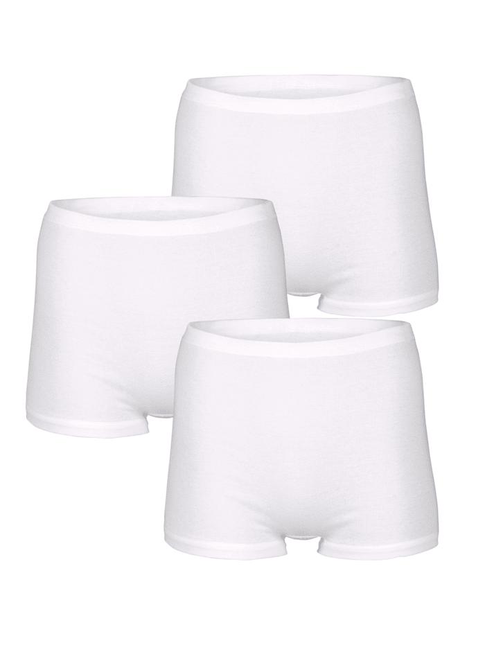HERMKO Boxershorts per 3 stuks met extra hoge band en korte pijpen, Wit