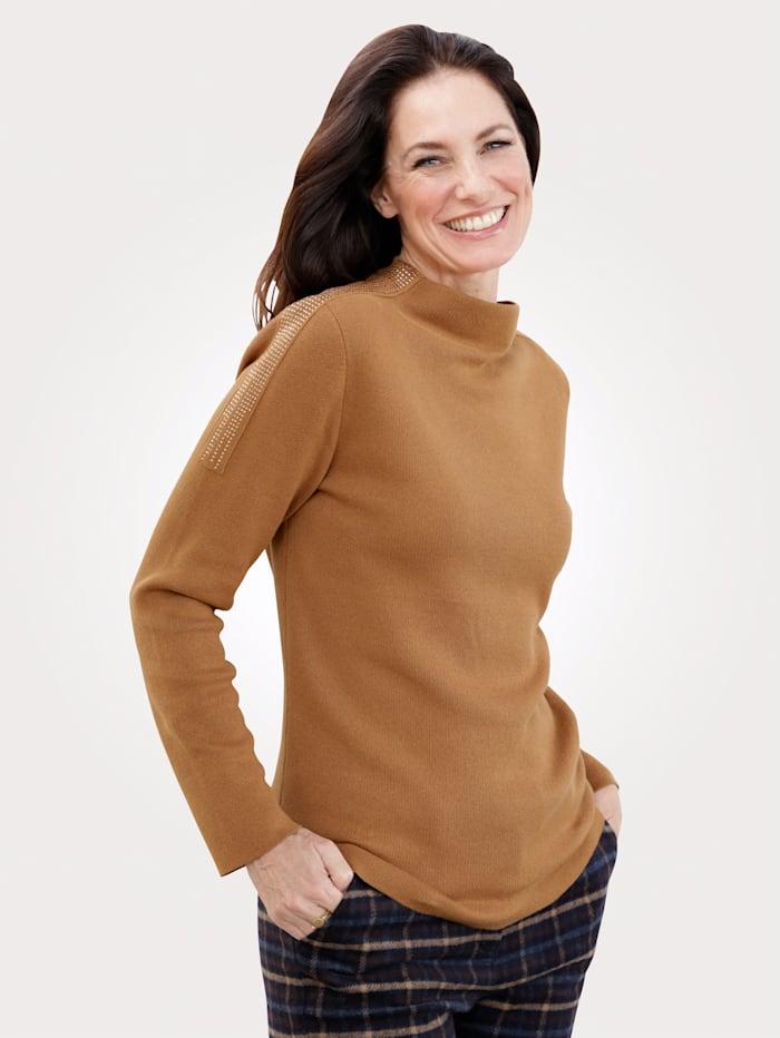 MONA Pullover mit modischem Kelchkragen, Hellbraun