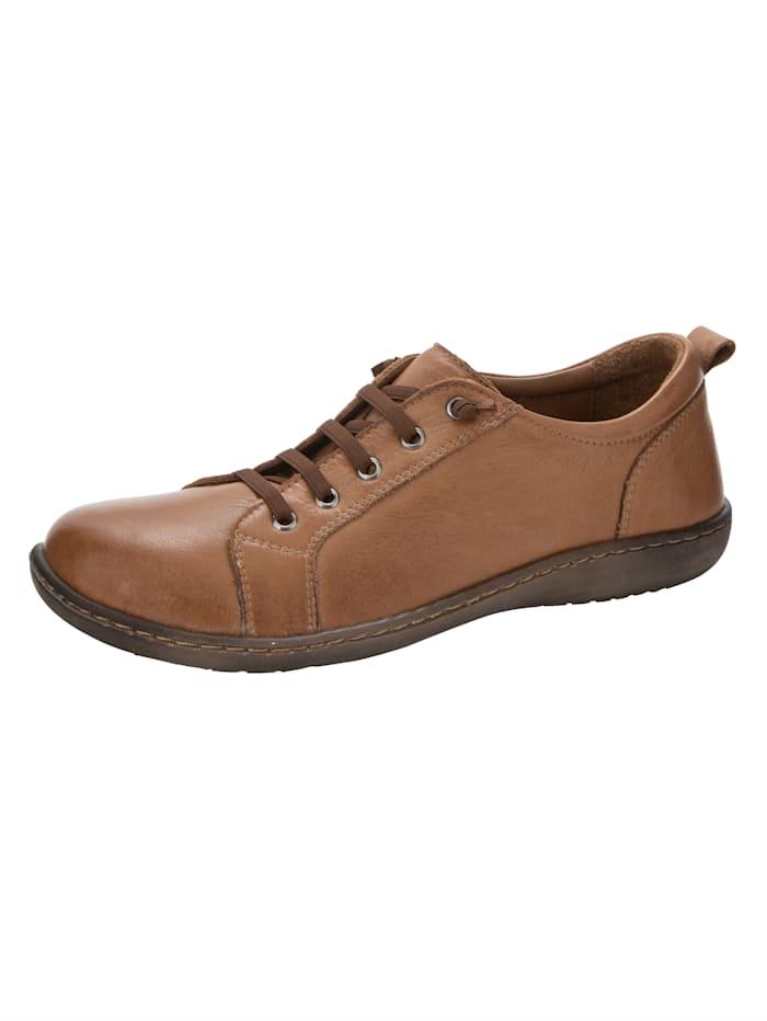 Skor med elastiska skosnören, Konjak