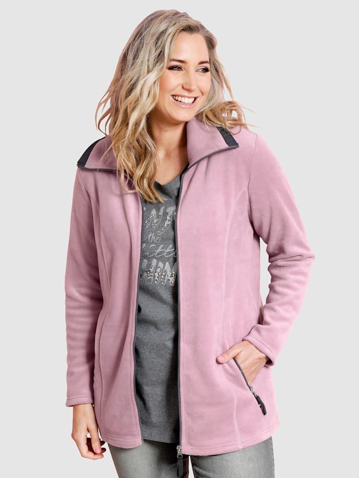 MIAMODA Fleecová bunda s ležatým límcem, Růžová