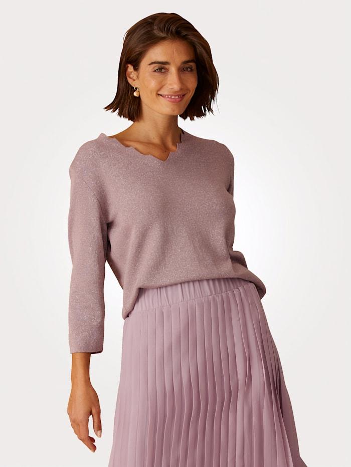 MONA Pullover mit dezent schimmernden Glanzgarn, Altrosa