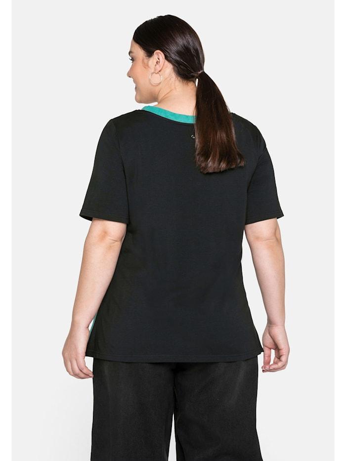 Sheego Longshirt mit kontrastfarbenem Druck, in A-Linie