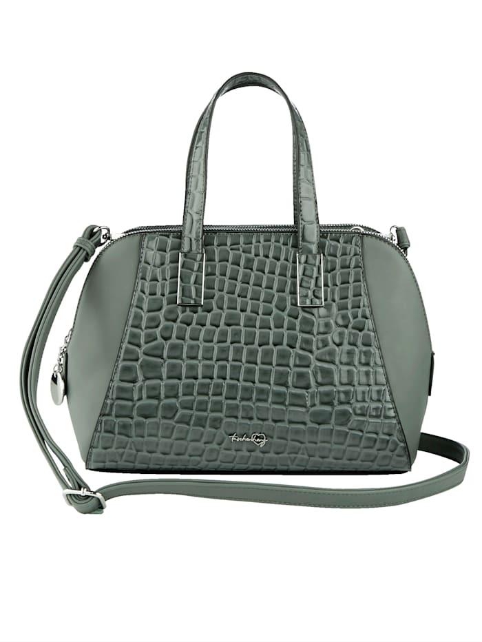 Taschenherz Handväska med krokopräglat mönster, Salviagrön