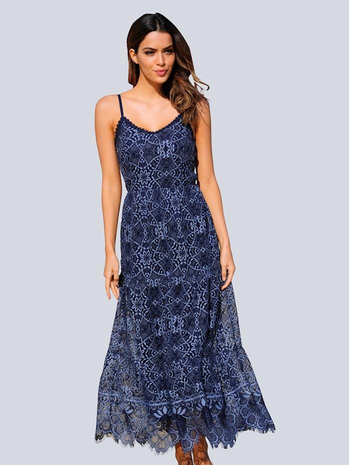 Alba Moda Strandkleid aus zweifarbiger Spitze, Blau