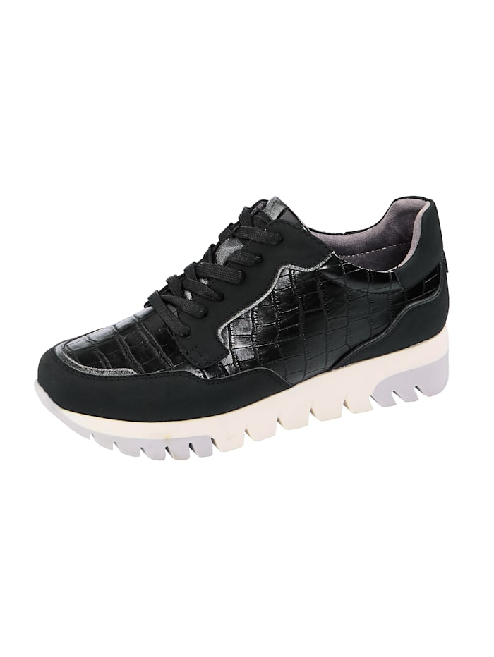 Liva Loop Plateausneaker in edler Kroko-Optik, Schwarz