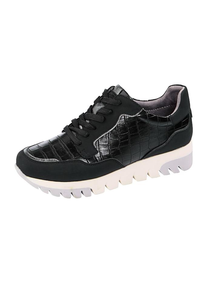 Liva Loop Sneaker met chic krokoreliëf, Zwart