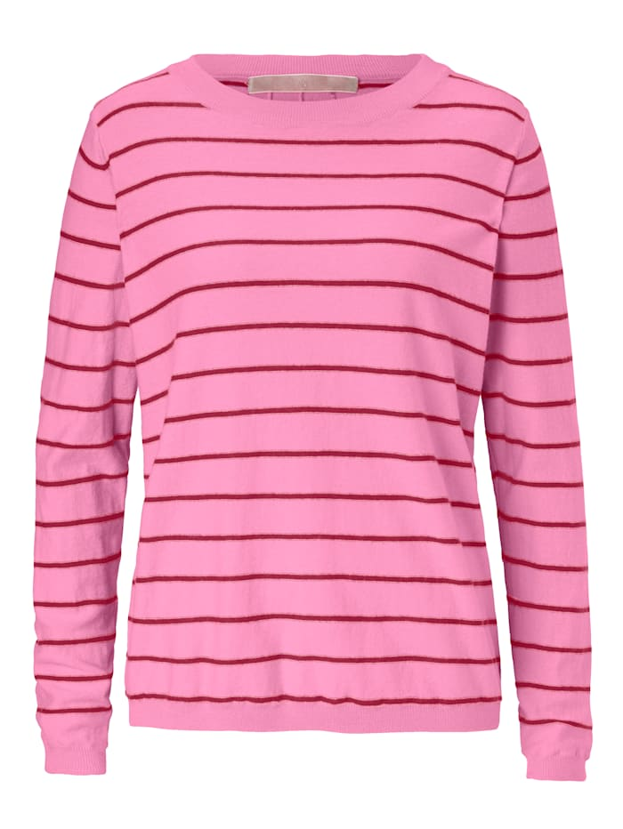 Mellow Peach Pullover geringelt, mit Schnürung im Rückenteil, Pink