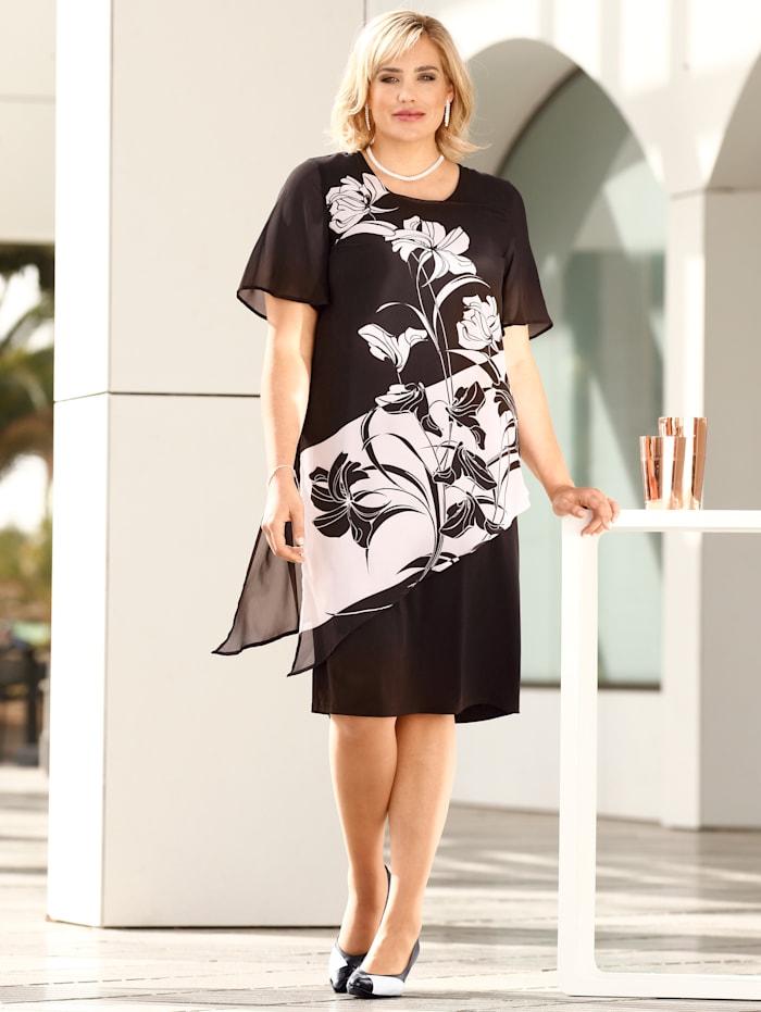 m. collection Kleid vorne mit Blumendruck, Schwarz/Weiß