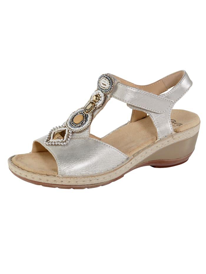 Ara Sandaletter med stenapplikationer, Silverfärgad