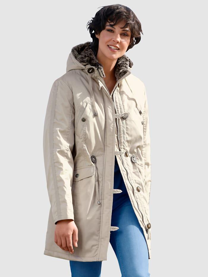 Laura Kent Bunda s vyjímatelnou kapucí z imitace kožešiny, Béžová