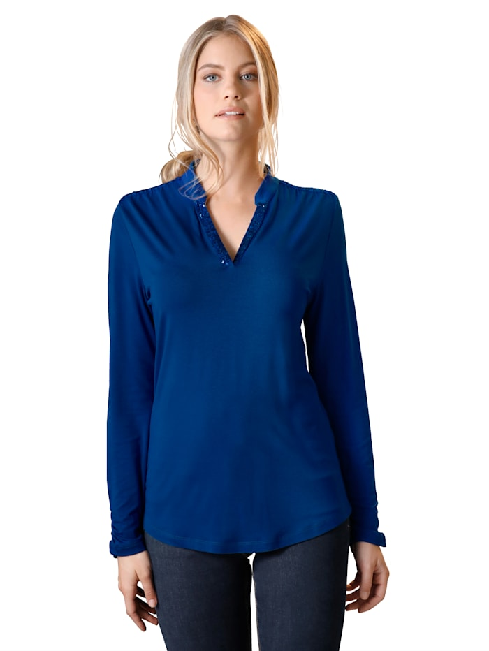 AMY VERMONT Shirt met pailletten, Royal blue
