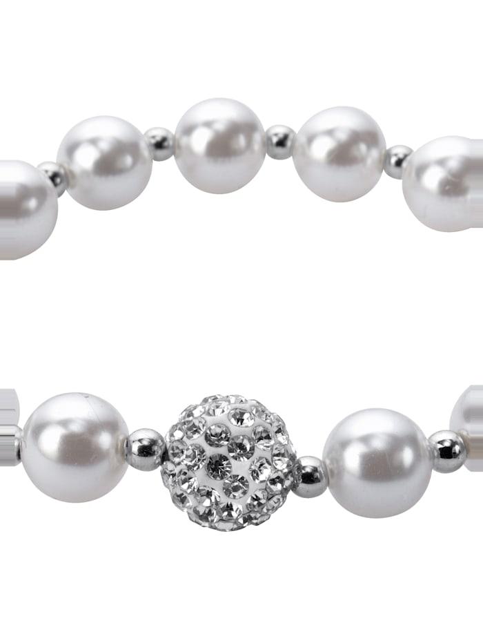 KLiNGEL Armband mit synth. Perlen, Weiß