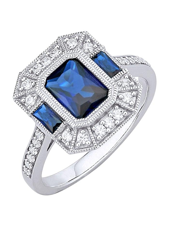 Diemer Trend Bague avec saphirs d'imitation et zirconia, Bleu